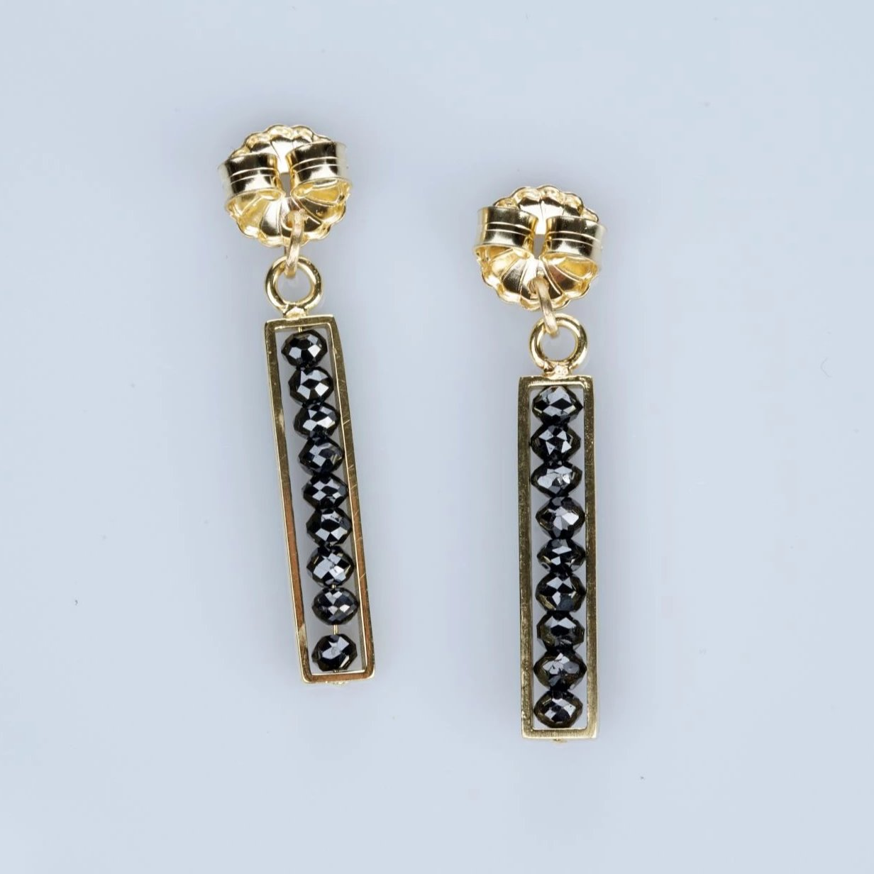 18k yellow gold black diamond bar backs, sydney strong, greenville, south carolina