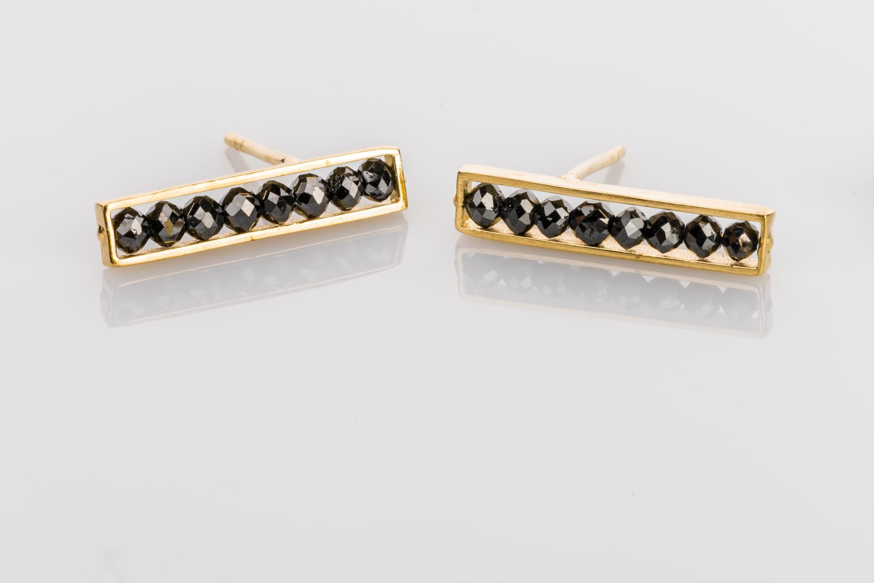 18k yellow gold black diamond bar studs, sydney strong, greenville, south carolina