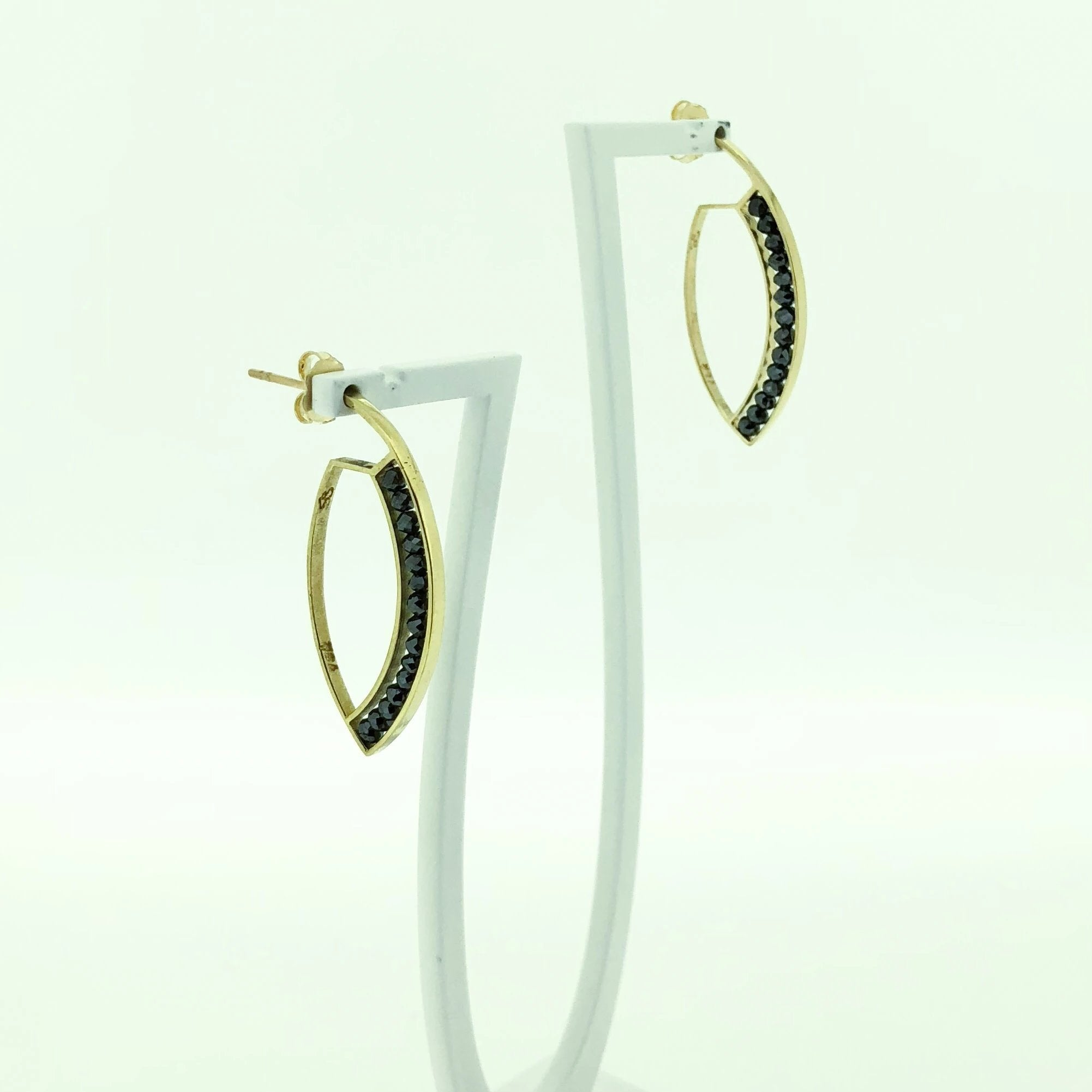 18k Yellow Gold and Black Diamond Marquise Earrings