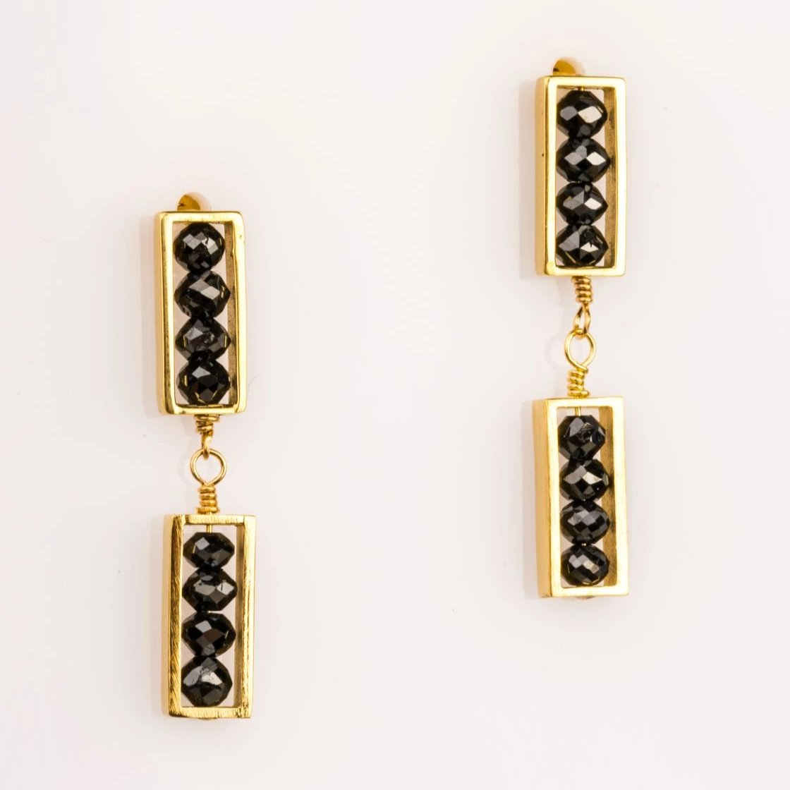 18k yellow gold double mini bar earrings with black diamonds, sydney strong, Greenville, South carolina