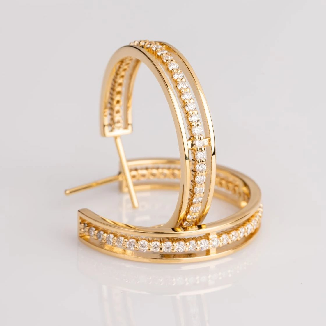 18k yellow gold floating eternity hoops, sydney strong, Greenville, South Carolina