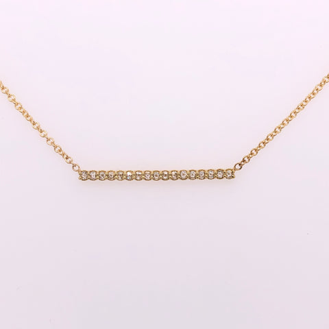 18k yellow gold rose cut diamond bar necklace, sydney strong, greenville, south carolina