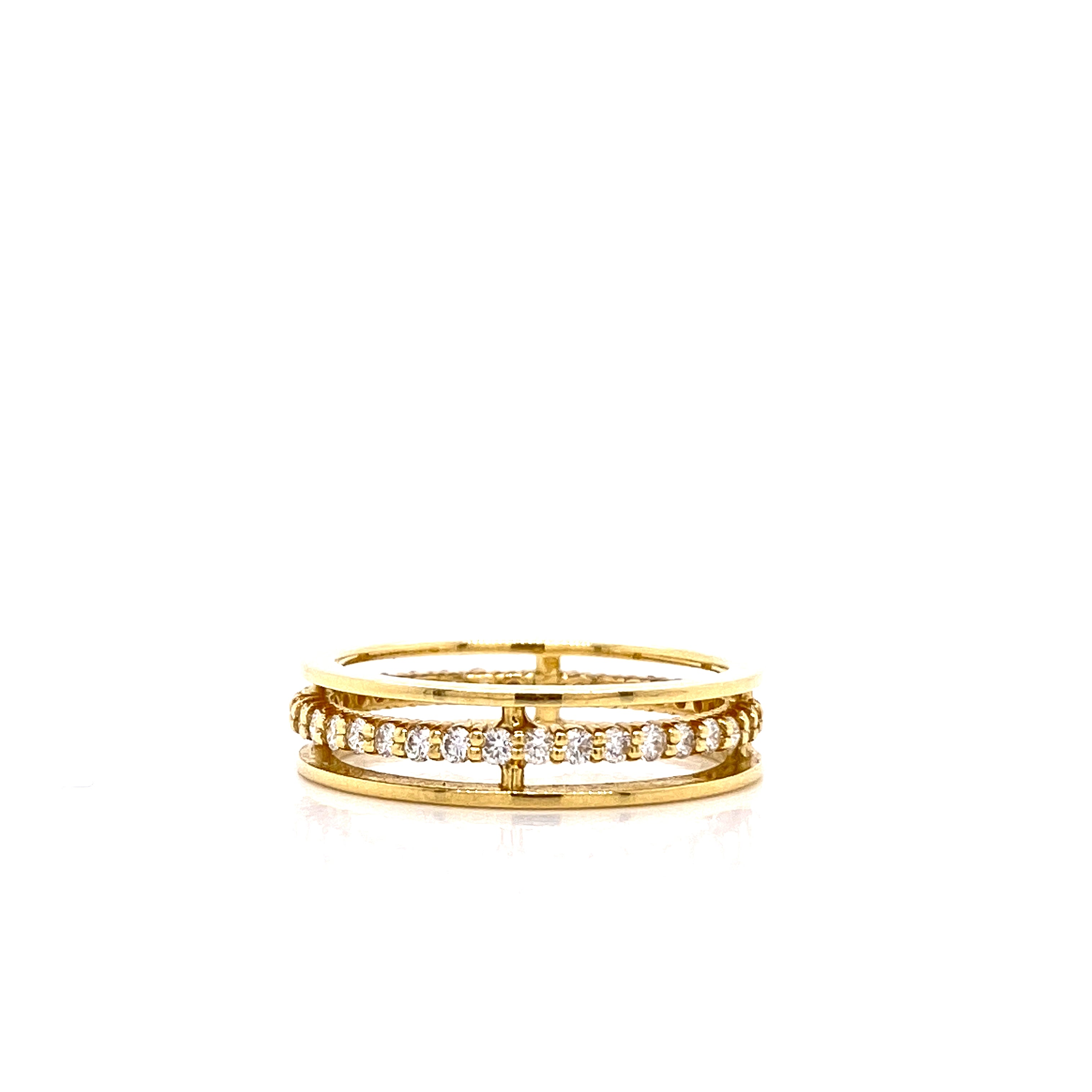 18k Yellow Gold Floating White Diamond Band