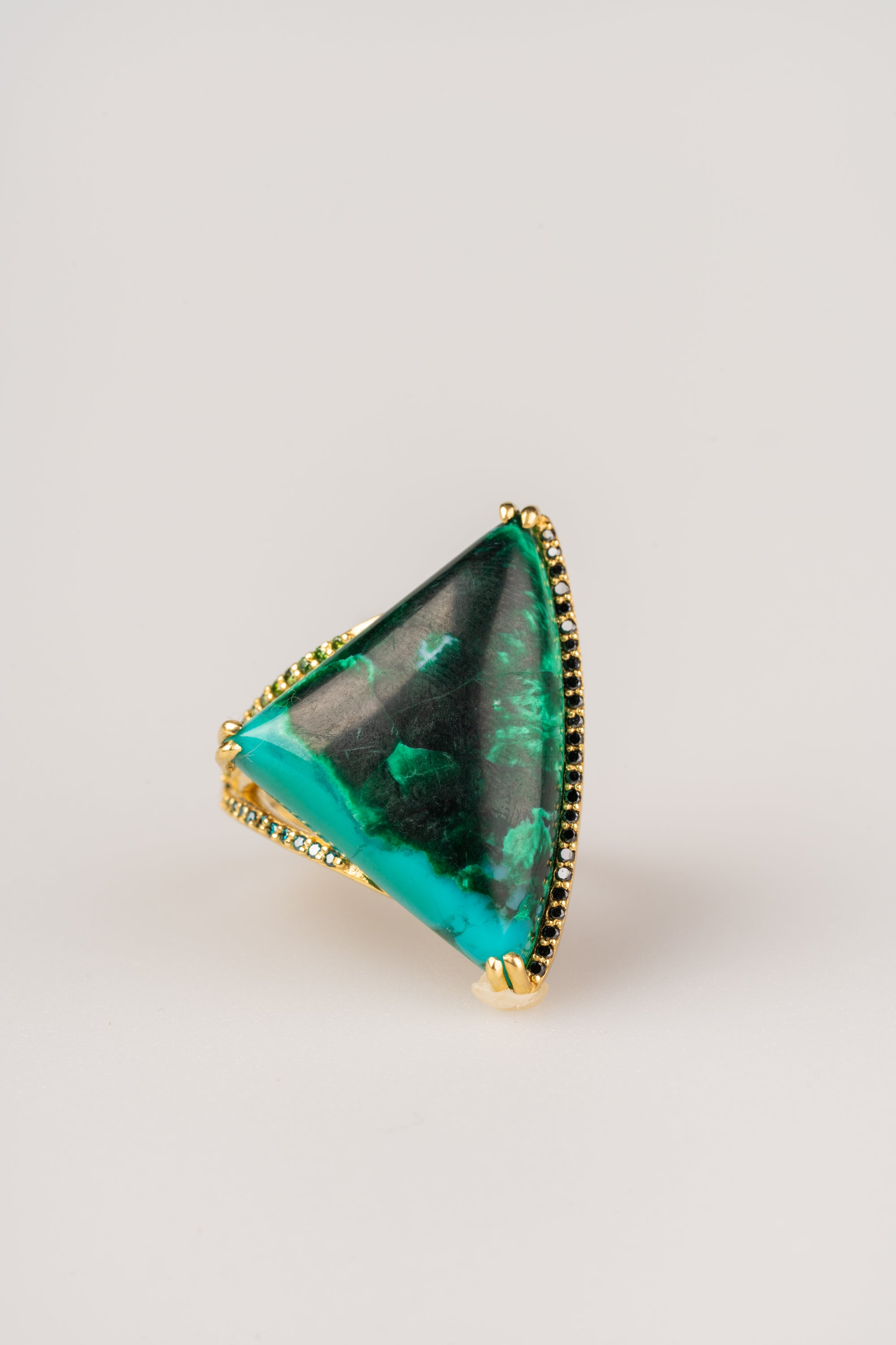 Chrysocholla/Malachite in 18k Yellow Gold with Blue, Black and Green Diamonds