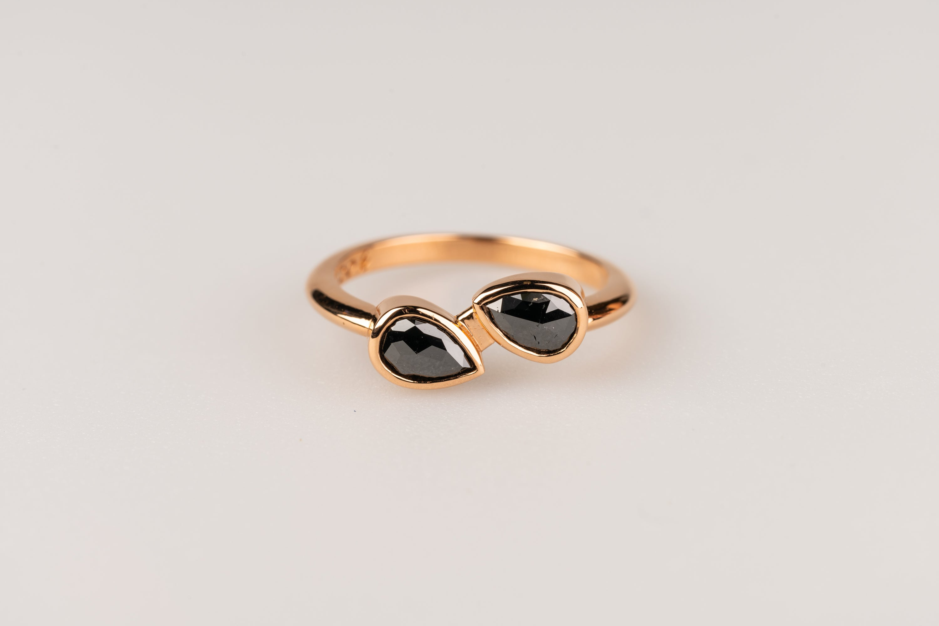 Double Pear Shaped Black Diamond Ring in 20k Rose Gold
