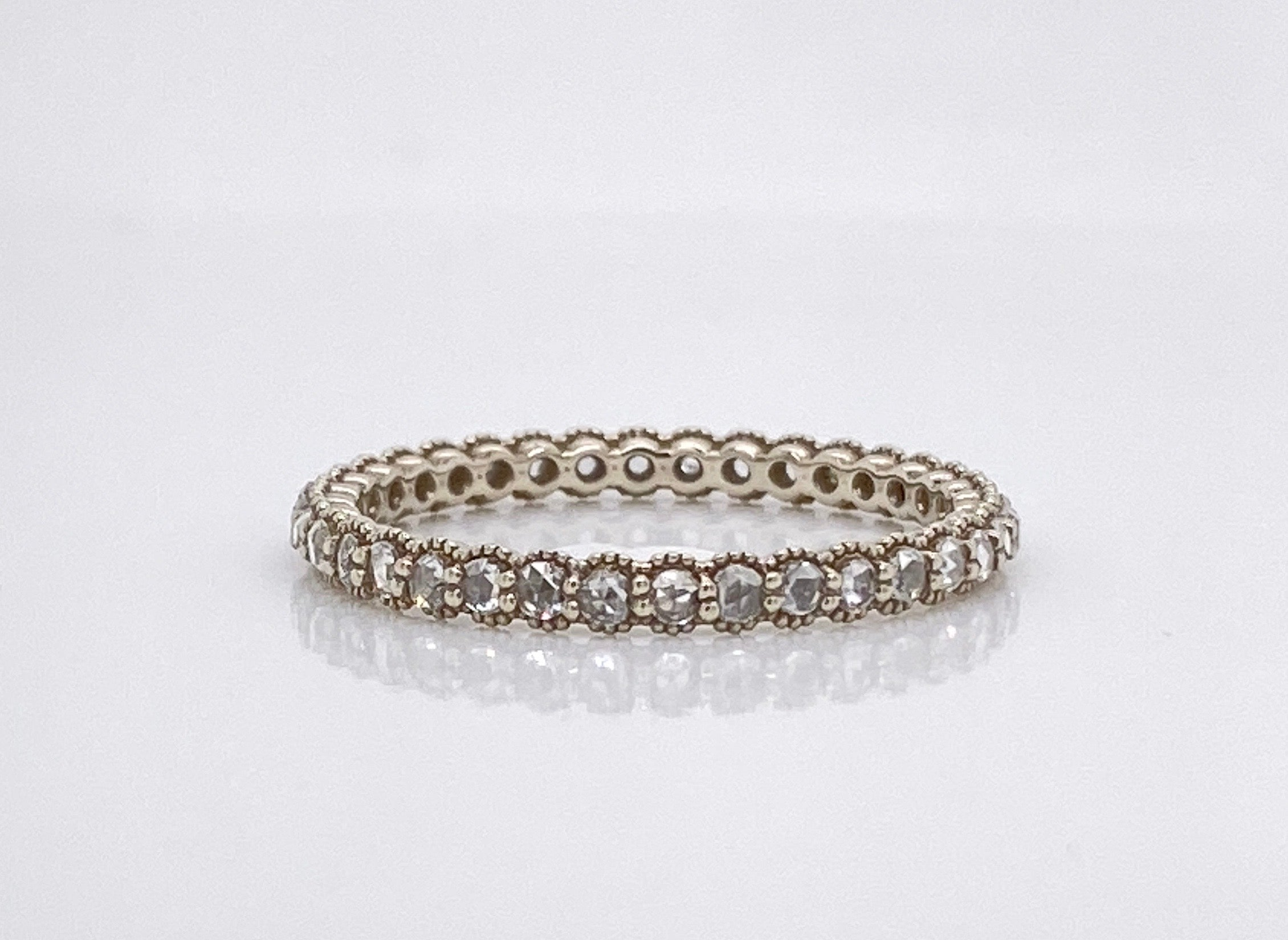 18k White Gold Rose Cut Diamond Band