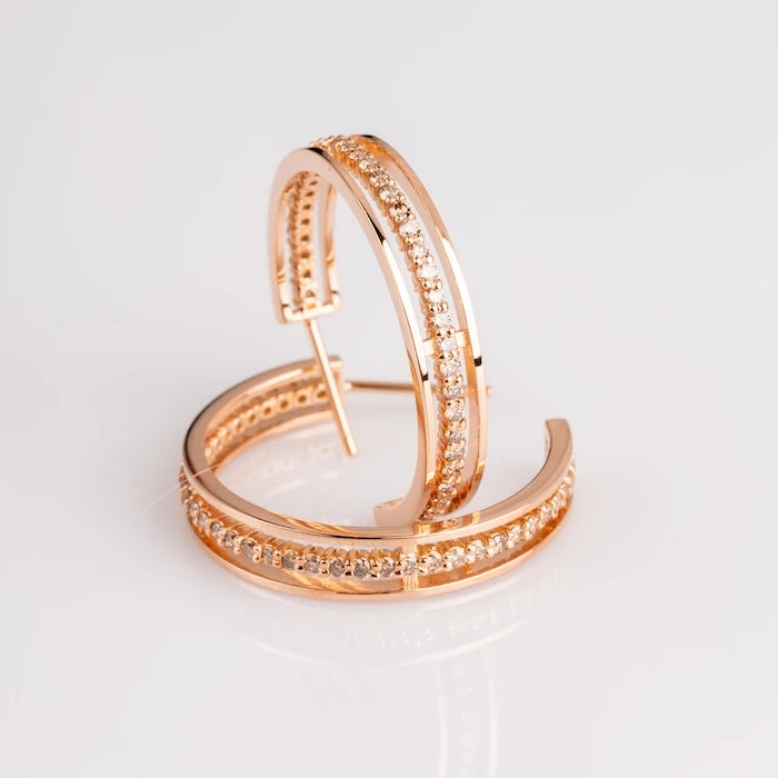 "18k Rose Gold and Champagne Diamond ""Floating Eternity"" Hoops"