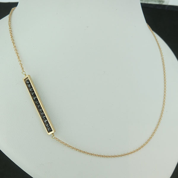 18k Yellow Gold and Black Diamond Side Bar Necklace