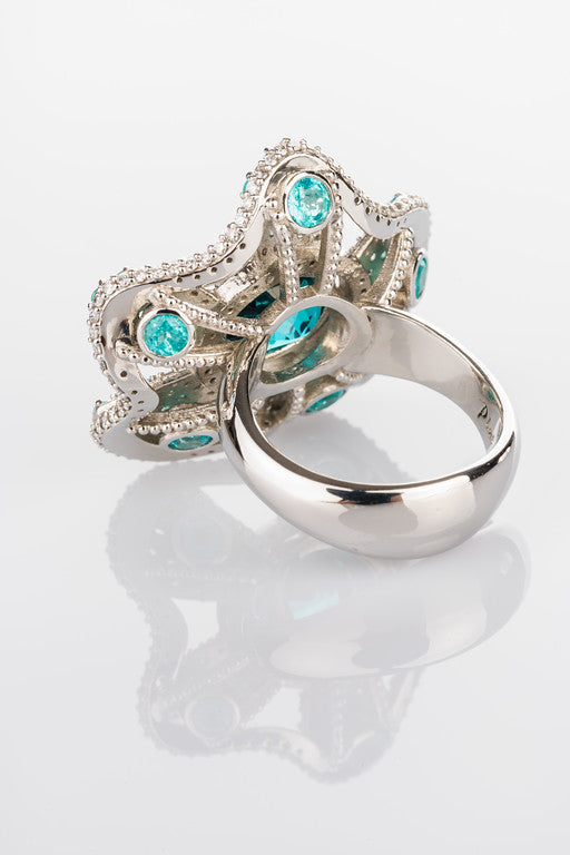 Indicolite and Paraiba Flower Ring