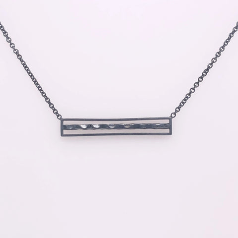 oxidized sterling silver hammered bar necklace, sydney strong, Greenville, south carolina