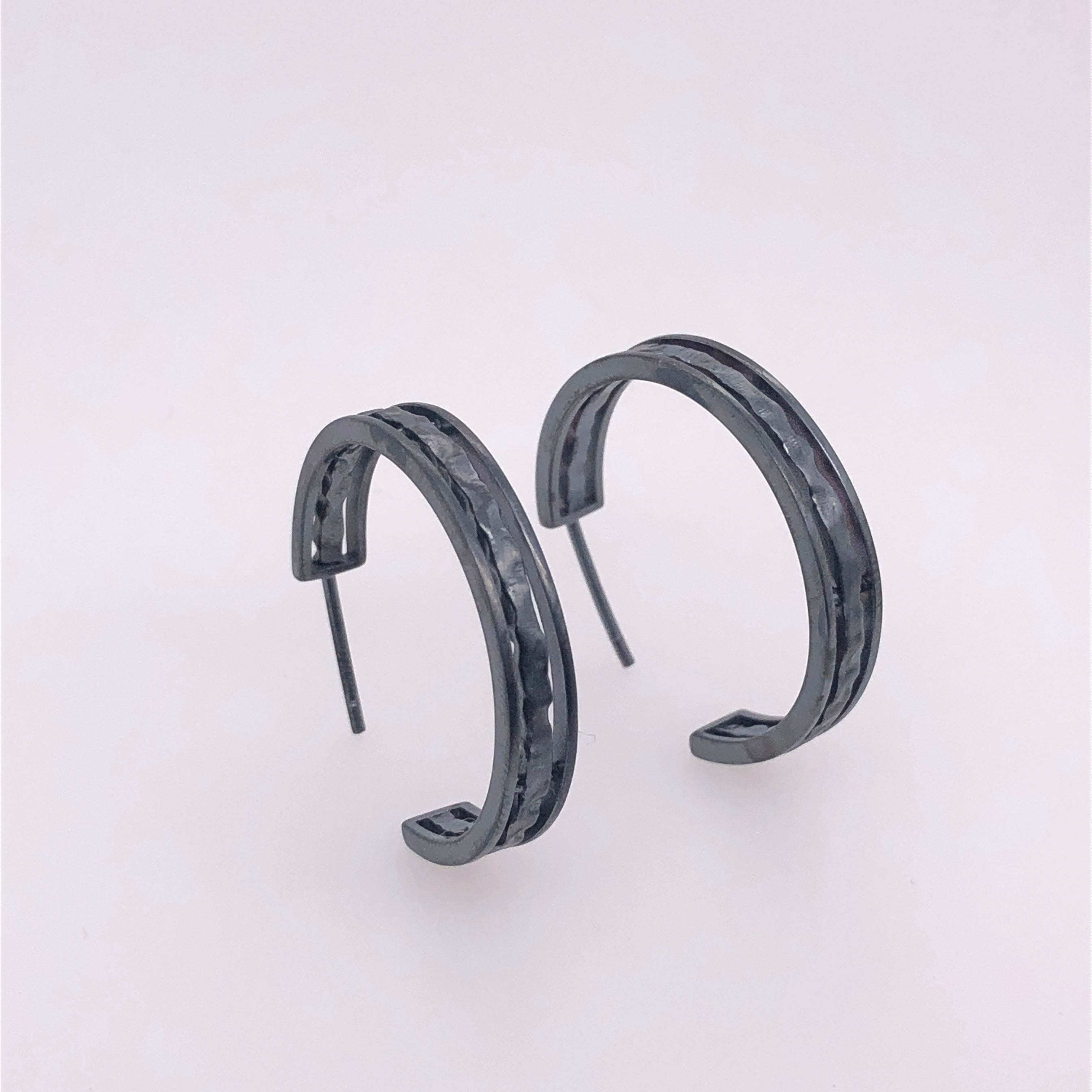 oxidized sterling silver hammered hoop earrings, sydney strong, Greenville, South carolina