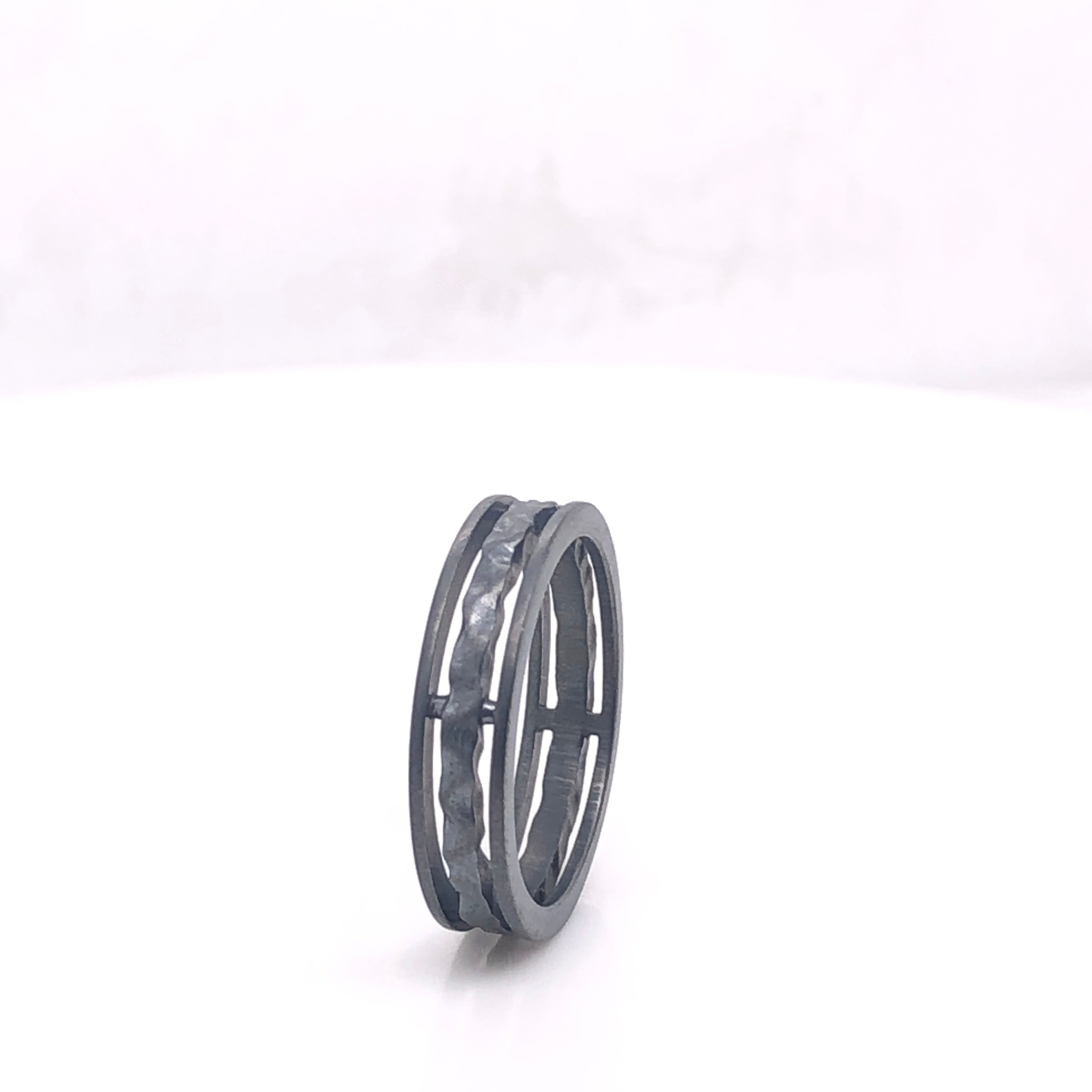 Oxidized Sterling Silver Hammered Ring, sydney strong, greenville, south carolina