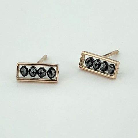18k Rose Gold and Black Diamond Small Bar Studs