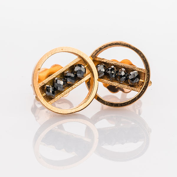 Rose Gold and Black Diamond Circle Studs