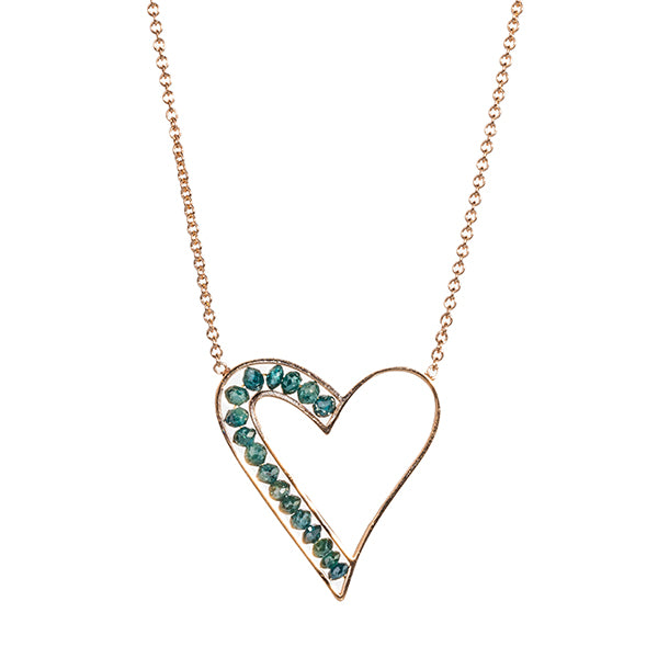 Rose Gold and Blue Diamond Heart Necklace