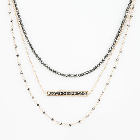 18k Rose Gold and Black Diamond Triple Layer Necklace