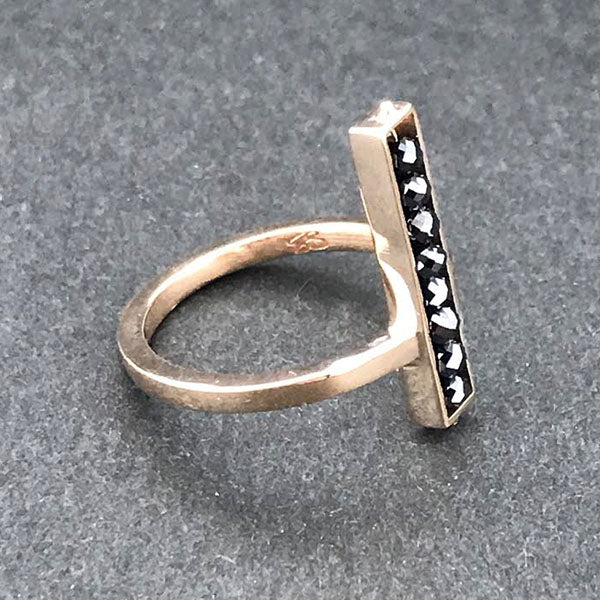 Rose Gold and Black Diamond Bar Ring