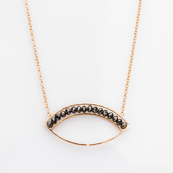 Rose Gold and Black Diamond Marquise Necklace