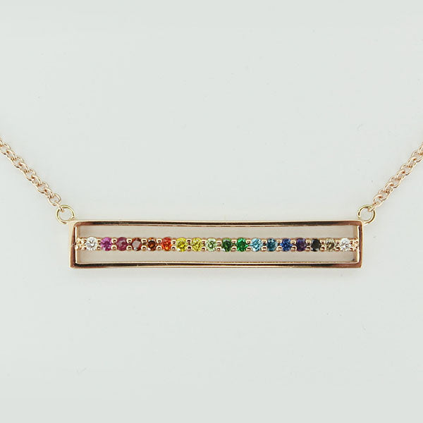 "18k Rose Gold ""E"" Line Bar Necklace"