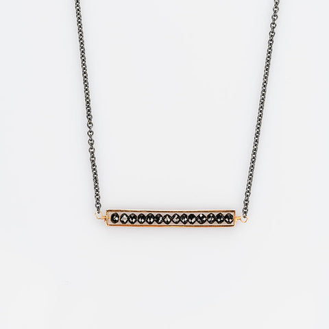 18k Rose Gold and Oxidized Sterling Silver with Black Diamonds