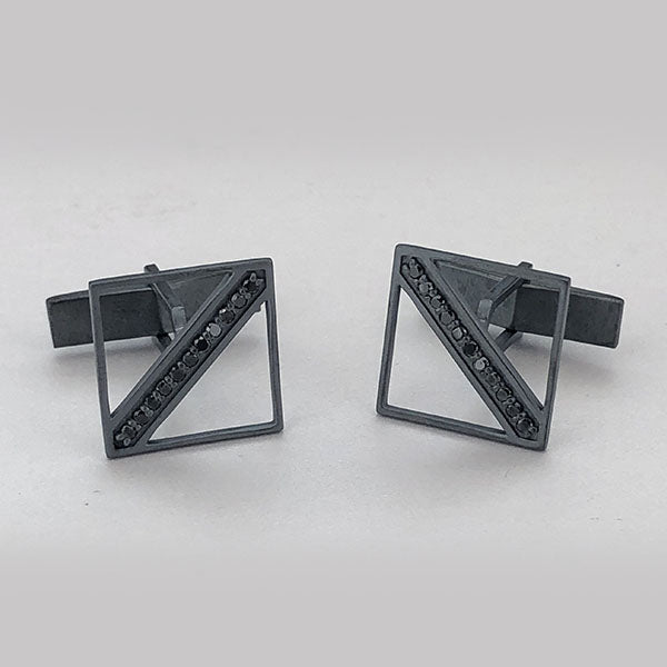 Oxidized Sterling Silver and Black Diamond Cufflinks