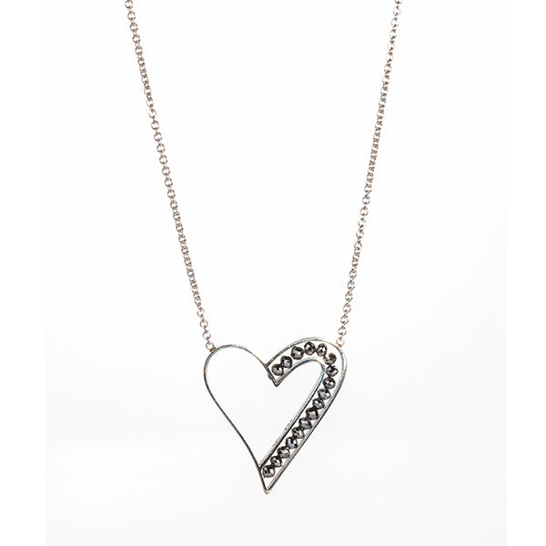 White Gold and Black Diamond Heart Necklace