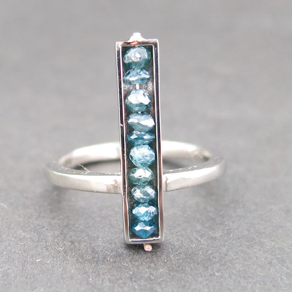 White Gold and Blue Diamond Bar Ring
