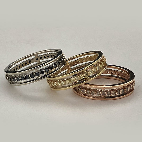 20k Rose Gold and Champagne Diamond Floating Anniversary Band