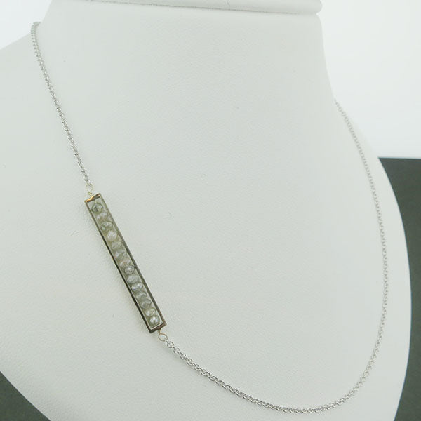 18k White Gold and Grey Diamond Side Bar Necklace