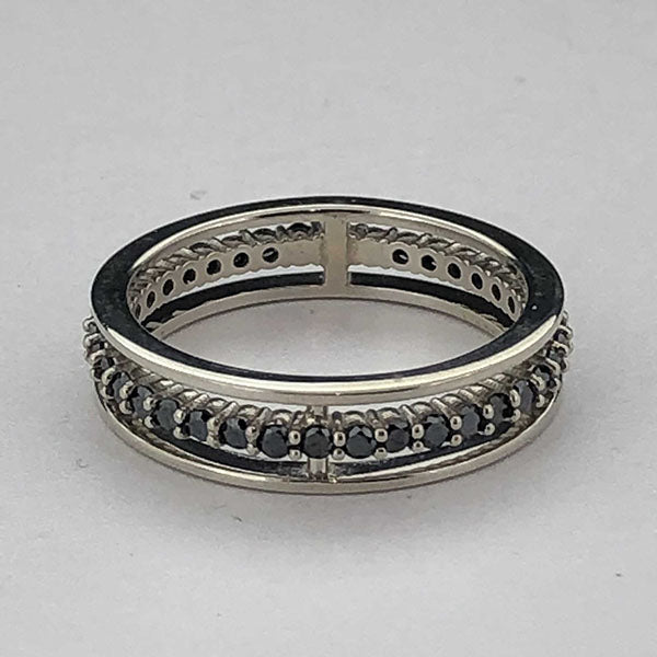 18k White Gold and Black Diamond Floating Anniversary Band