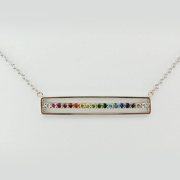 "18k White Gold ""E"" Line Bar Necklace"
