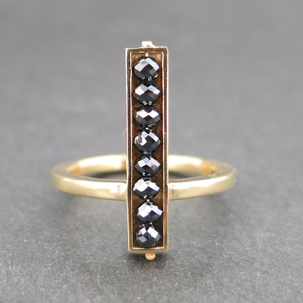 Yellow Gold and Black Diamond Bar Ring