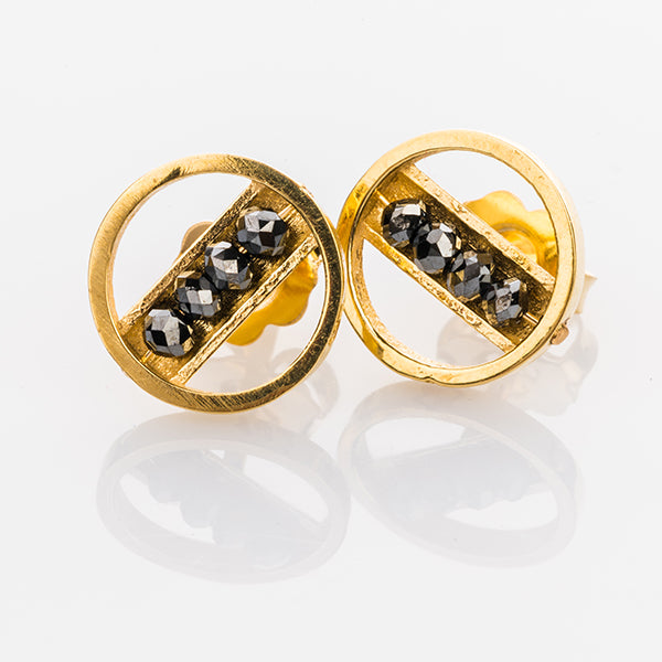 Yellow Gold and Black Diamond Circle Studs