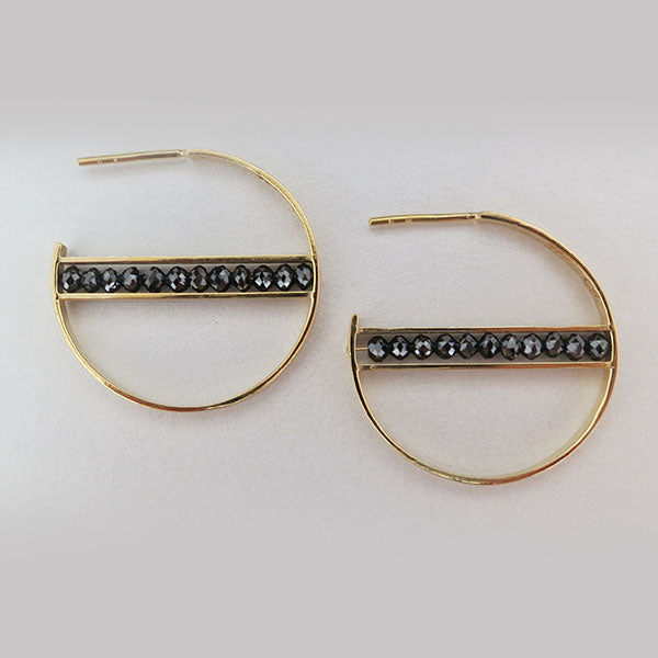 18k Yellow Gold and Black Diamond Hoop Earrings