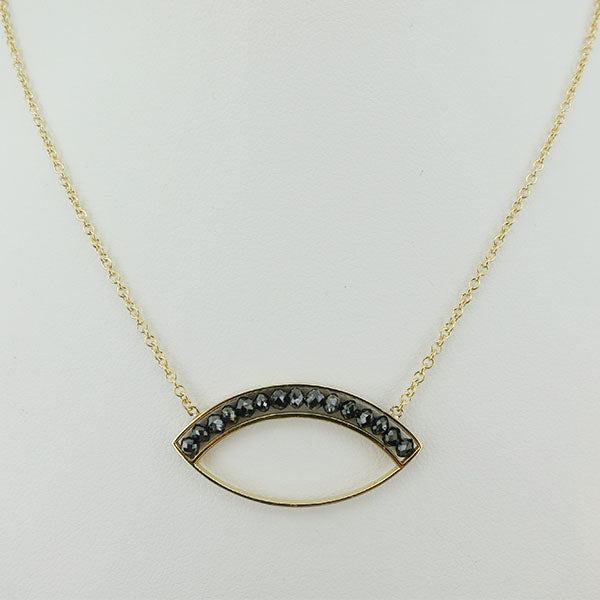18k Yellow Gold and Black Diamond Marquise Necklace