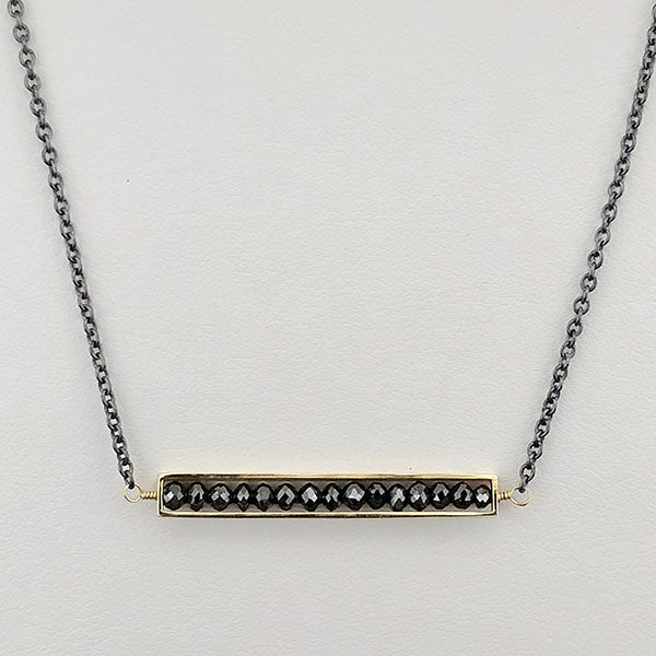 18k Yellow Gold and Oxidized Sterling Silver with Black Diamonds