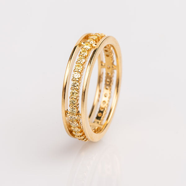 18k Yellow Gold and Yellow Diamond Floating Eternity Ring