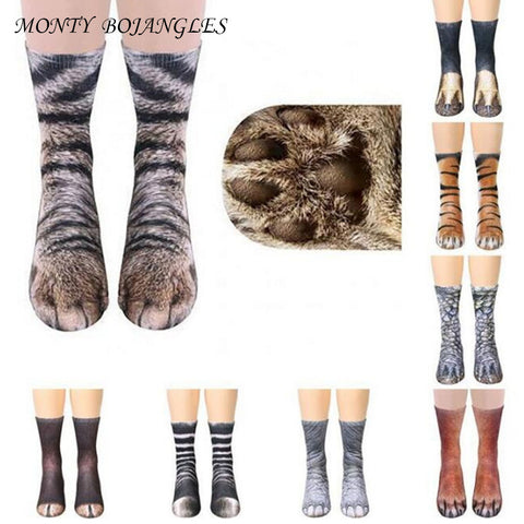 Unisex 3D Animal Paw/Legs Print Socks