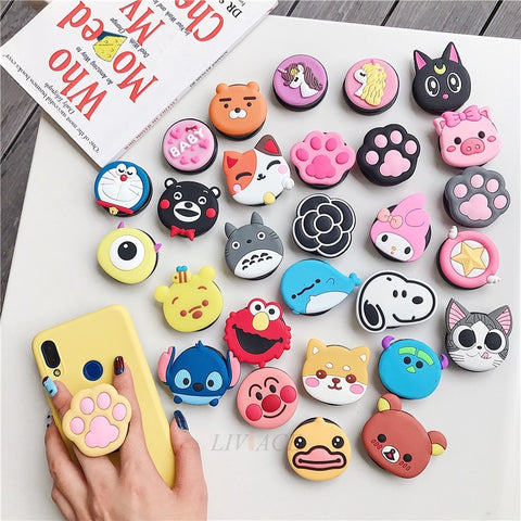 3D cartoon fold finger grip phone holder