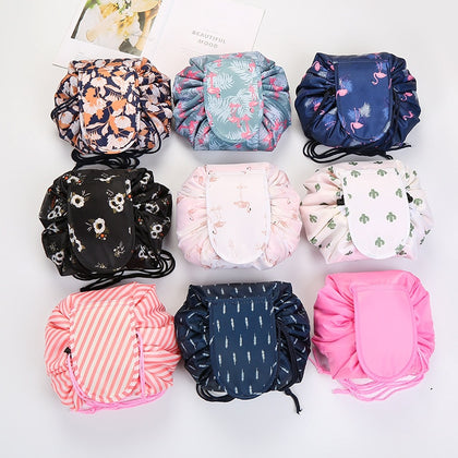 Drawstring Lay Flat Travel Cosmetic Bag