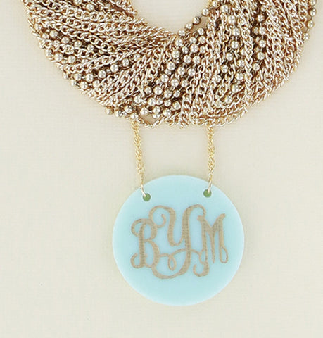Mint and Gold Monogram Pendant