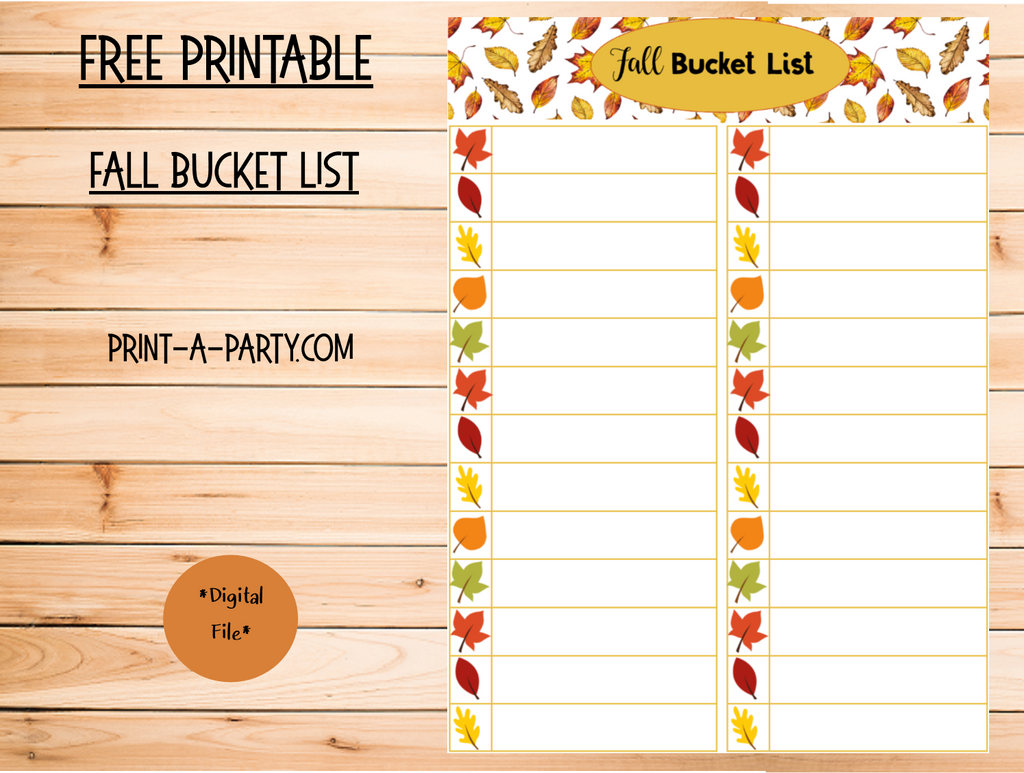 It's Fall Y'all - get your Fall Bucket List Printable (it's free)