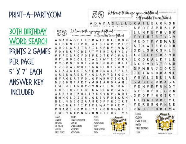 WORD SEARCH: 30th Birthday Sarcastic and Funny -INSTANT DOWNLOAD