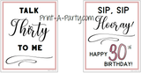 WINE LABELS: 30th Birthday (6) Birthday Wine - INSTANT DOWNLOAD