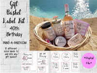 40th Birthday Gift Basket Label Kit - 10 different labels to make a great gift basket