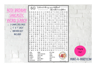 WORD SEARCH: 40th Birthday Sarcastic and Funny - INSTANT DOWNLOAD