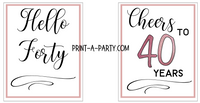 WINE LABELS: 40th Birthday (6) Birthday Wine - INSTANT DOWNLOAD