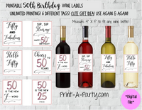 WINE LABELS: 50th Birthday (6) Birthday Wine - INSTANT DOWNLOAD