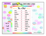 GAME BUNDLE: Birthday Party Game 6 Pack - INSTANT DOWNLOAD - Rainbow Glitter - great for Tween/Teen parties