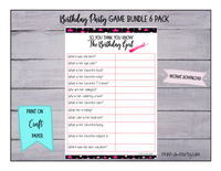 GAME BUNDLE: Birthday Party Game 6 Pack - INSTANT DOWNLOAD - Stars - great for Tween/Teen parties
